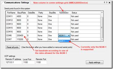 NemaStudio Actisense NGW-1 NMEA2000 gateway support   Ger